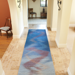 Rug by Regina Vorgang in hallway of the Steve and Terri Frenkle residence, Santa Barbara, CA.