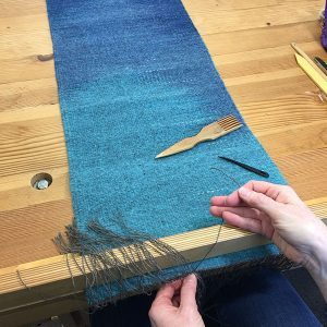 March open studio. Regina Design handwoven table runner