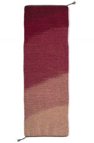 Liquid Raspberry table runner handwoven wool.