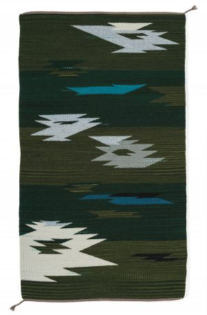 Regina Design Green on Green handwoven wool rug