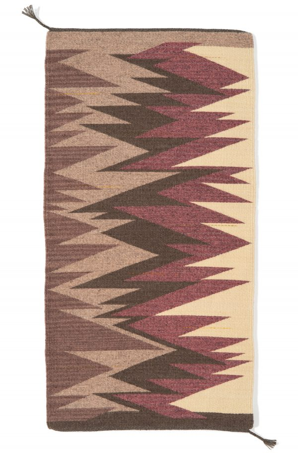 Regina Design Life Lines 20 handwoven wool table runner in grey and pink